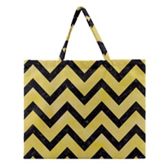Chevron9 Black Marble & Yellow Watercolor Zipper Large Tote Bag