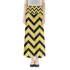 Chevron9 Black Marble & Yellow Watercolor Full Length Maxi Skirt