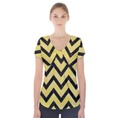 Chevron9 Black Marble & Yellow Watercolor Short Sleeve Front Detail Top