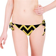 Chevron9 Black Marble & Yellow Watercolor (r) Bikini Bottom