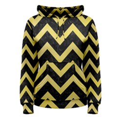 Chevron9 Black Marble & Yellow Watercolor (r) Women s Pullover Hoodie