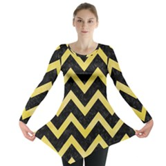Chevron9 Black Marble & Yellow Watercolor (r) Long Sleeve Tunic