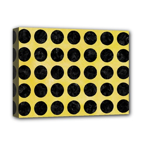 Circles1 Black Marble & Yellow Watercolor Deluxe Canvas 16  X 12