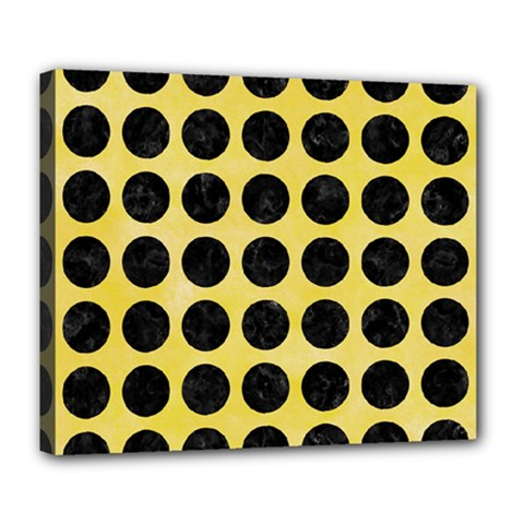 Circles1 Black Marble & Yellow Watercolor Deluxe Canvas 24  X 20