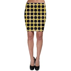 Circles1 Black Marble & Yellow Watercolor Bodycon Skirt