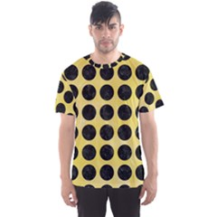 Circles1 Black Marble & Yellow Watercolor Men s Sports Mesh Tee