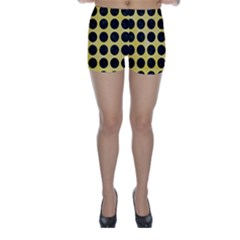 Circles1 Black Marble & Yellow Watercolor Skinny Shorts
