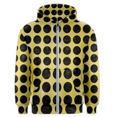 Circles1 Black Marble & Yellow Watercolor Men s Zipper Hoodie