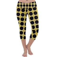 Circles1 Black Marble & Yellow Watercolor Capri Yoga Leggings