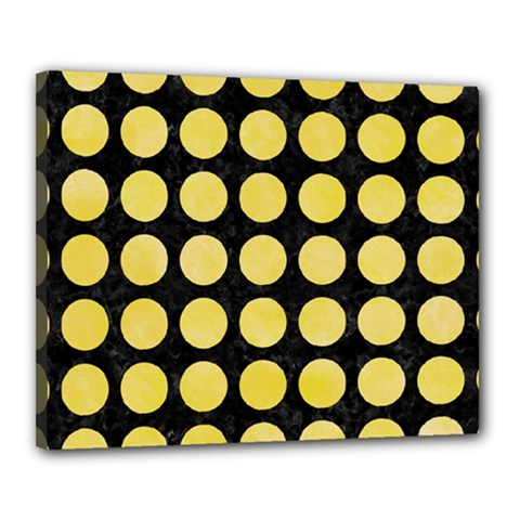Circles1 Black Marble & Yellow Watercolor (r) Canvas 20  X 16
