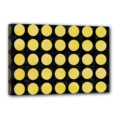 Circles1 Black Marble & Yellow Watercolor (r) Canvas 18  X 12