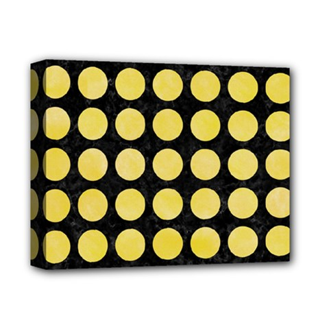 Circles1 Black Marble & Yellow Watercolor (r) Deluxe Canvas 14  X 11