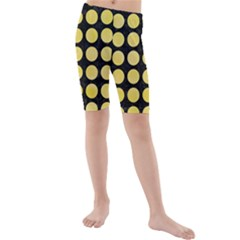 Circles1 Black Marble & Yellow Watercolor (r) Kids  Mid Length Swim Shorts