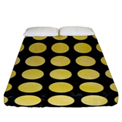 Circles1 Black Marble & Yellow Watercolor (r) Fitted Sheet (king Size)