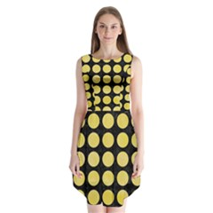Circles1 Black Marble & Yellow Watercolor (r) Sleeveless Chiffon Dress