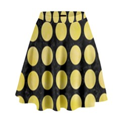 Circles1 Black Marble & Yellow Watercolor (r) High Waist Skirt