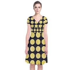 Circles1 Black Marble & Yellow Watercolor (r) Short Sleeve Front Wrap Dress
