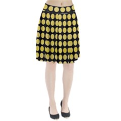 Circles1 Black Marble & Yellow Watercolor (r) Pleated Skirt