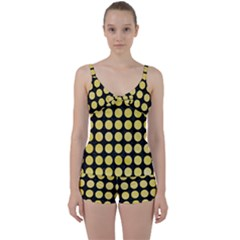 Circles1 Black Marble & Yellow Watercolor (r) Tie Front Two Piece Tankini