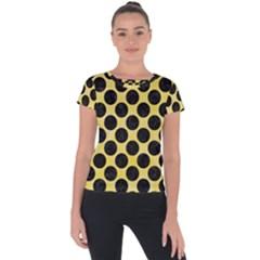 Circles2 Black Marble & Yellow Watercolor Short Sleeve Sports Top