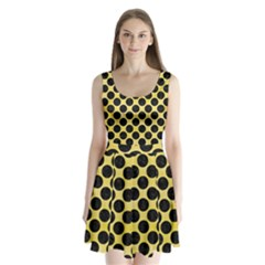 Circles2 Black Marble & Yellow Watercolor Split Back Mini Dress
