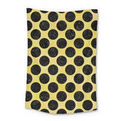 Circles2 Black Marble & Yellow Watercolor Small Tapestry
