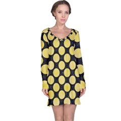Circles2 Black Marble & Yellow Watercolor (r) Long Sleeve Nightdress