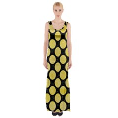 Circles2 Black Marble & Yellow Watercolor (r) Maxi Thigh Split Dress