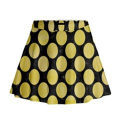 Circles2 Black Marble & Yellow Watercolor (r) Mini Flare Skirt