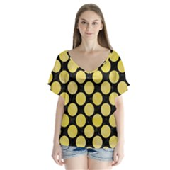 Circles2 Black Marble & Yellow Watercolor (r) V Neck Flutter Sleeve Top