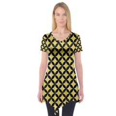 Circles3 Black Marble & Yellow Watercolor Short Sleeve Tunic