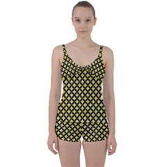 Circles3 Black Marble & Yellow Watercolor Tie Front Two Piece Tankini