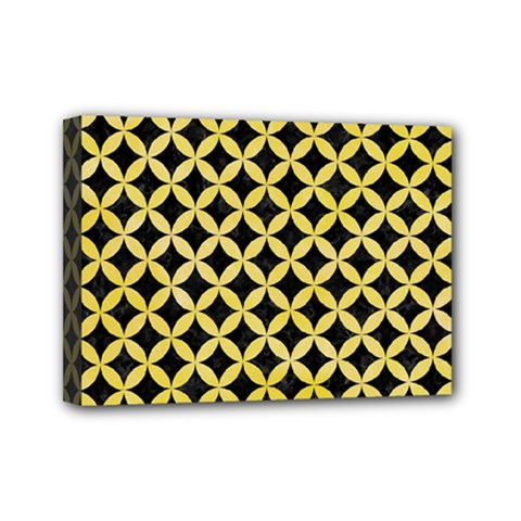 Circles3 Black Marble & Yellow Watercolor (r) Mini Canvas 7  X 5