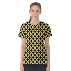 Circles3 Black Marble & Yellow Watercolor (r) Women s Cotton Tee