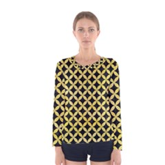 Circles3 Black Marble & Yellow Watercolor (r) Women s Long Sleeve Tee