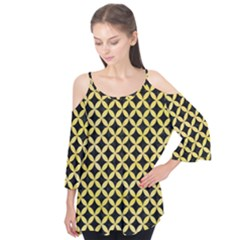 Circles3 Black Marble & Yellow Watercolor (r) Flutter Tees