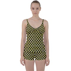 Circles3 Black Marble & Yellow Watercolor (r) Tie Front Two Piece Tankini