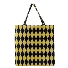 Diamond1 Black Marble & Yellow Watercolor Grocery Tote Bag