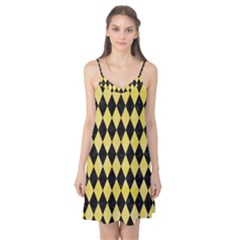 Diamond1 Black Marble & Yellow Watercolor Camis Nightgown