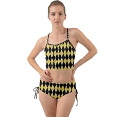 Diamond1 Black Marble & Yellow Watercolor Mini Tank Bikini Set
