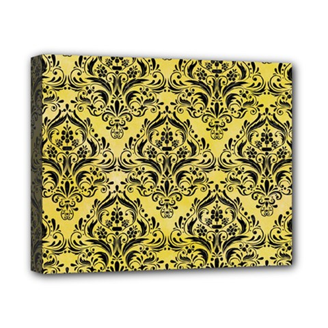 Damask1 Black Marble & Yellow Watercolor Canvas 10  X 8