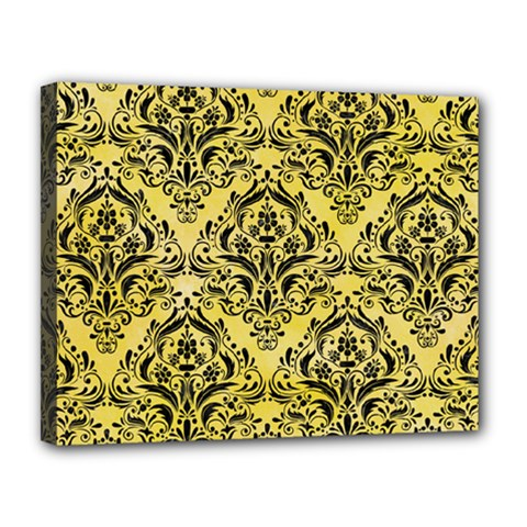 Damask1 Black Marble & Yellow Watercolor Canvas 14  X 11