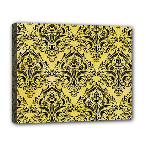Damask1 Black Marble & Yellow Watercolor Deluxe Canvas 20  X 16
