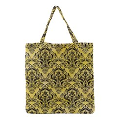 Damask1 Black Marble & Yellow Watercolor Grocery Tote Bag