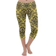 Damask1 Black Marble & Yellow Watercolor Capri Yoga Leggings