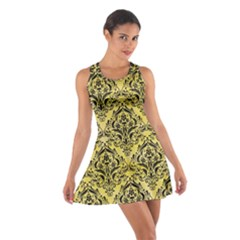 Damask1 Black Marble & Yellow Watercolor Cotton Racerback Dress