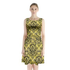 Damask1 Black Marble & Yellow Watercolor Sleeveless Waist Tie Chiffon Dress