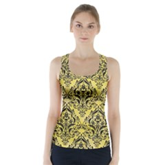 Damask1 Black Marble & Yellow Watercolor Racer Back Sports Top