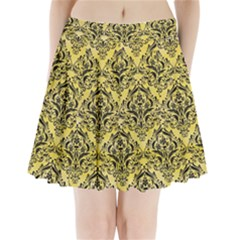 Damask1 Black Marble & Yellow Watercolor Pleated Mini Skirt