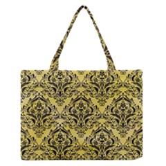 Damask1 Black Marble & Yellow Watercolor Zipper Medium Tote Bag